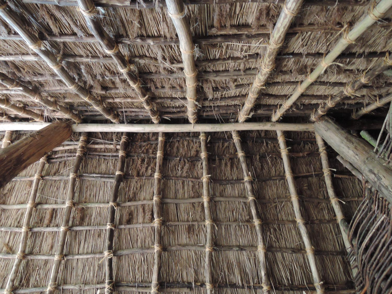 reconstitution intérieur ferme néolithique plafond