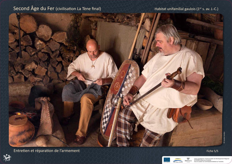 petite maison gauloise Archéosite Aubechies entretien et réparation armement